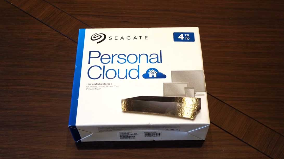 Seagate network access storage package on a wooden table