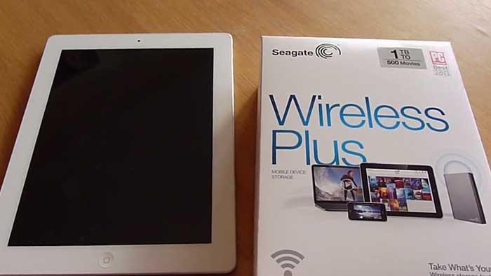 seagate wireless plus hard drive packaging on a desk