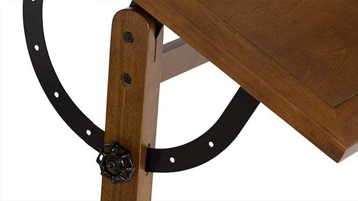 Closeup of an articulated table mechanism