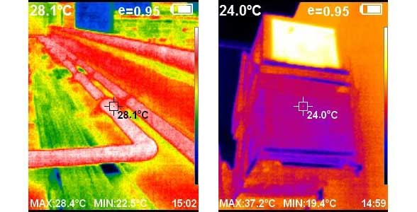 Two thermal images side by side