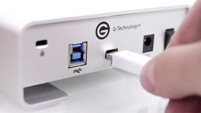 Thunderbolt port on the back side of an external hard drive