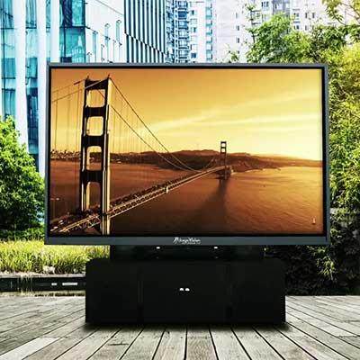 LCD television screen setup outside