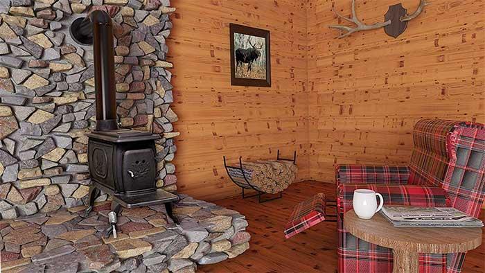 United states stove 1269e in a wooden cabin