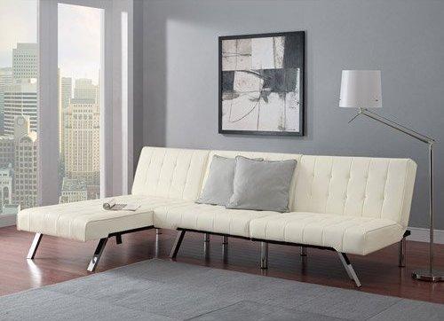 vanilla white faux convertible sofa image