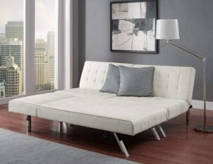 vanilla white faux leather convertible sofa image