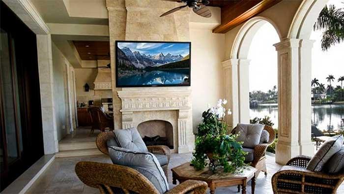 outdoor tv setup in a veranda