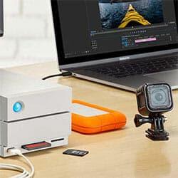 video editor's desk with storage setup