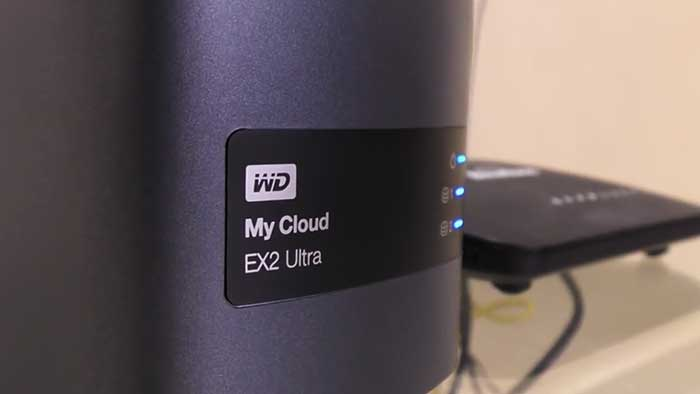 western digital mycloud EX2 ultra NAS next to a router