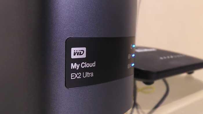 western digital mycloud EX2 ultra NAS next to a router
